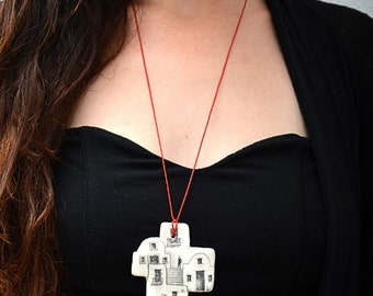 House necklace, Art and architecture, Santorini Greece, Adjustable necklace, White clay necklace, Greek architecture, Ceramic jewelry, clay