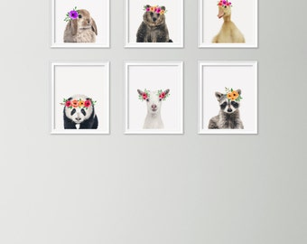 Set of 6 nursery animal prints - Animals with flowers - Nursery wall art - Nursery print set - Photo animal nursery - Printable nursery gift