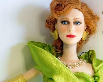 Cinderellas evil Stepmother doll in satin green dress. OOAK repaint barbie