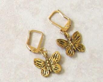Antiqued Goldplated Butterfly Dangle Earrings, Butterfly Jewelry, Gold Butterfly Dangle Earrings, Nature Inspired Butterfly Earrings