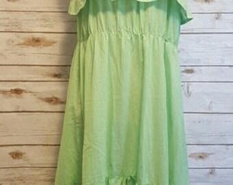 Vintage, 1970's, green gingham sundress, Large