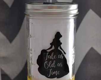 Beauty And The Beast Mason Jar Tumbler Cup