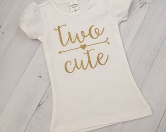 """Second Birthday Shirt, Any Color """"Two Cute"""" Birthday Shirt or Bodysuit/Second Birthday Shirt with Arrow"""