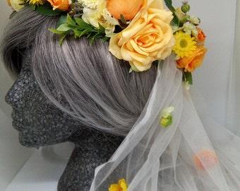 Bridal Wild Flower Crown and Flower Veil
