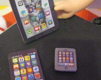 Doll School Accessories smart phone + mini smart phone  +  iPad -Fits 18 inch American Girl Doll/18 inch doll accessories/school accessories