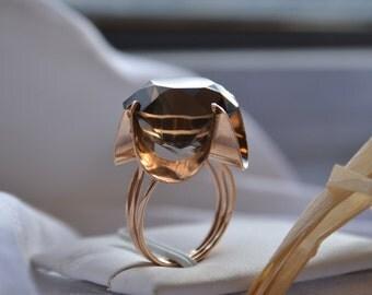 Spectacular larger-than-life 14K yellow gold and Smokey Quartz dinner ring