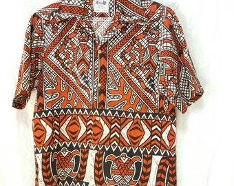 Keone Sportwear Men of Action  Hawaiian Tiki Turtles Orange Barkcloth Men's size Small to Medium  from the 60's
