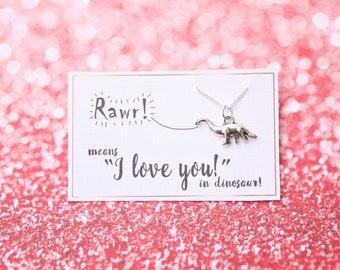 Dinosaur necklace Rawr means I love you in Dinosaur necklace quirky cute dinosaur necklace romantic gift funny romantic gift silver dinosaur