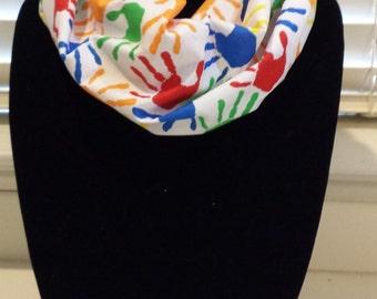 Teacher / Kids Handprints on white infinity scarf