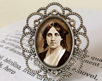 Louisa May Alcott Brooch - Louisa May Alcott Jewellery, Little Women Gift, Literary Brooch, Classic Novel Gift, Louisa May Alcott Jewelry
