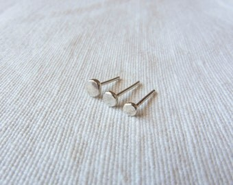 Sterling Silver Tiny Stud Earrings Set of 3
