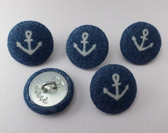 Anchor buttons 18mm, blue