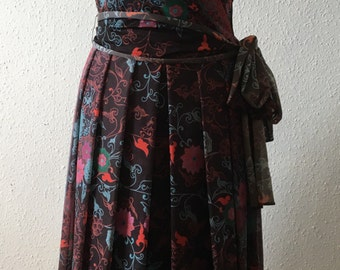Vintage 70's Geraldine Sid Green Black Floral dress size 10
