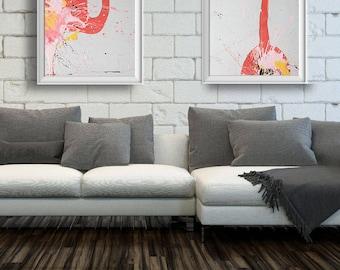 Set of 2 Flamingo Poster, Pink grey wall art, Pink Art Décor, Flamingo Canvas Art, Tropical Wall Art, Pink Art Set #517FL1 #517FL2