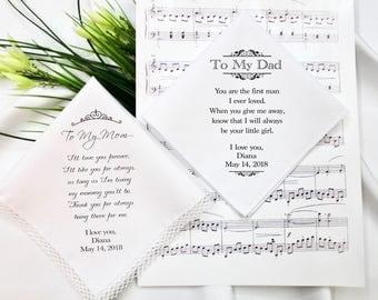 Wedding Hankie Set,Wedding Handkerchief Set,Father of the bride,Mother of the Bride Handkerchief,Wedding Handkerchief,Wedding Hankerchief #2