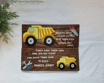 """Rustic """"Mighty Dads"""" Father and Son Truck and Tool Nursery Wall Decor"""