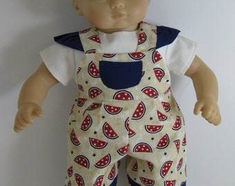 Bitty Baby / Bitty Twin Red, White, and Blue Watermelon Overalls and White Shirt
