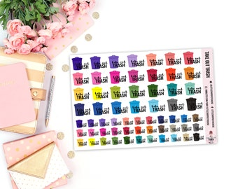 Take Out Trash || 61 Planner Stickers, Decorating Stickers, Functional Planner Stickers, Stickers For Planning, Trash Day Stickers