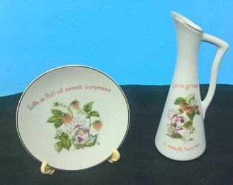 Vintage Strawberry Shortcake Plate and Bud Vase