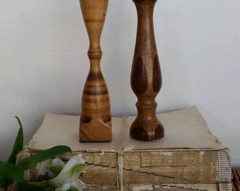 Wood Candle stick/Candle holder/Wooden decor/mid mod/boho/