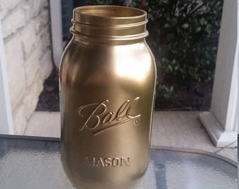 Golden Mason Jar Vase/ Shabby Chic Home Decor/ Quart-Sized Jar/ Rustic Wedding/ Centerpiece