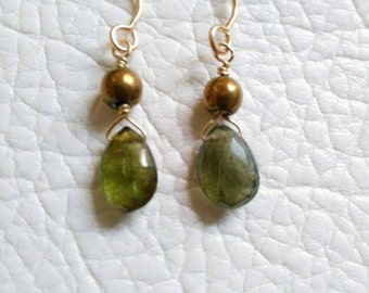 Olive green tourmaline and pyrite earring, silver goldplated
