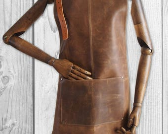 Brown leather apron, Blacksmith's apron, Barber apron, Silversmith's apron, Woodwork apron, Sturdy leather apron, Gift for him, Father's day
