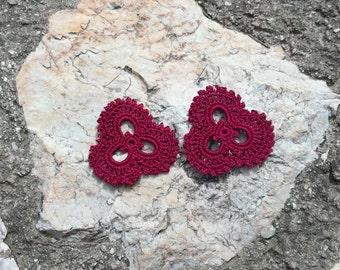 Three Petals - crochet earrings in purple