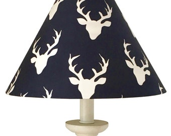 Woodland Deer Lamp Shade-Boy Nursery lamp -Navy Lampshade-Nursery Deer Lamp-Hello Bear Buck Forest Twilight-Boys room-Table Decor