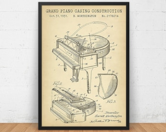 Grand Piano Casing Construction Patent Print, Digital Download, Pianist Musician Wall Art Orchestra Grand Piano Music Room Decor Piano Gifts