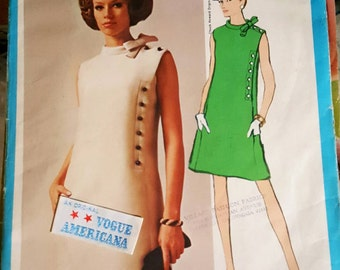 1960s Vogue Americana Designer Chuck Howard Design Misses Shift Dress Size 10 UNCUT FF Sewing Pattern With Label!