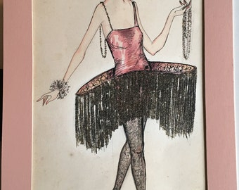 Original Art Deco Flapper Costume Illustration
