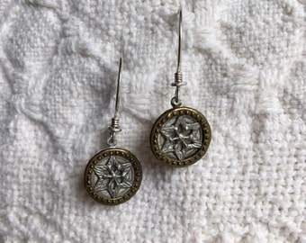 Vintage Style Earrings with Antique Metal Buttons from 1900-1909-Unique-Repurposed-Victorian Sytle-Vintage Jewelry-Button Jewelry-Upcycled