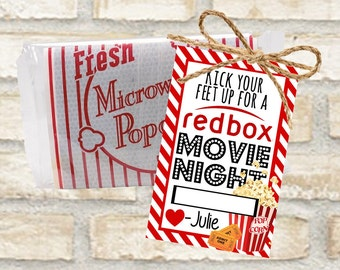 Redbox gift cards for popcorn and a movie date night with space for redbox code. Instant download in two different styles.