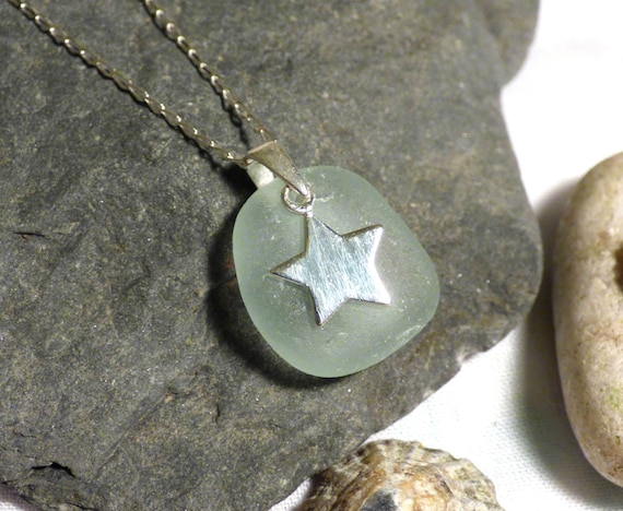 Pale Blue Sea Glass Pendant Necklace with Sterling Silver Star Charm - PF16006