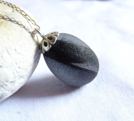 Black Sea Glass, Sea Glass Pendant, Sea Glass Necklace, Black and Grey, Beach Glass Pendant, Black Glass Pendant, Beach Glass - PJ16002