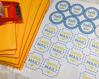 """Etsy Seller """"Thanks for Shopping Small"""" and """"Happy Mail"""" Packaging Sticker Sheet"""