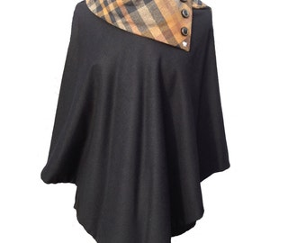 Black Cashmere Betty Poncho