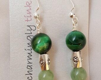 "Fresh & Bright - Green Tiger Eye, Green Aventurine and ""silver"" dangle earrings (E16-062)"