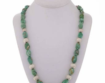 Green Nugget Silver Necklace Navajo Bead Choker