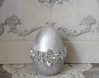 Silver decoration egg with rhinestones