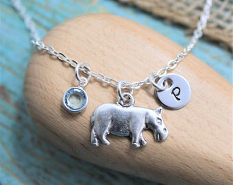 Hippo Necklace - Hippopotamus Jewelry - I Love Hippos - Hippo Lover Gifts - Personalized - Hippo Charm Necklace