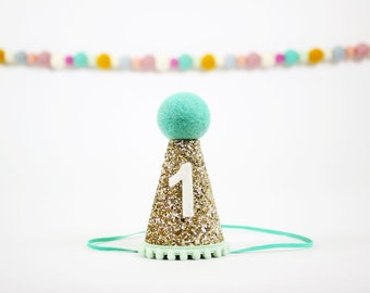 Boy Birthday Party Hat | First Birthday Hat | 1st Bday Hat | Smash Cake Hat| Gold + Mint + Teal