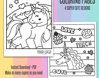Unicorn Coloring Pages • 4 Designs | Marketing, Party Decor, Party Activity | Lularoe inspired quotes coloring sheets