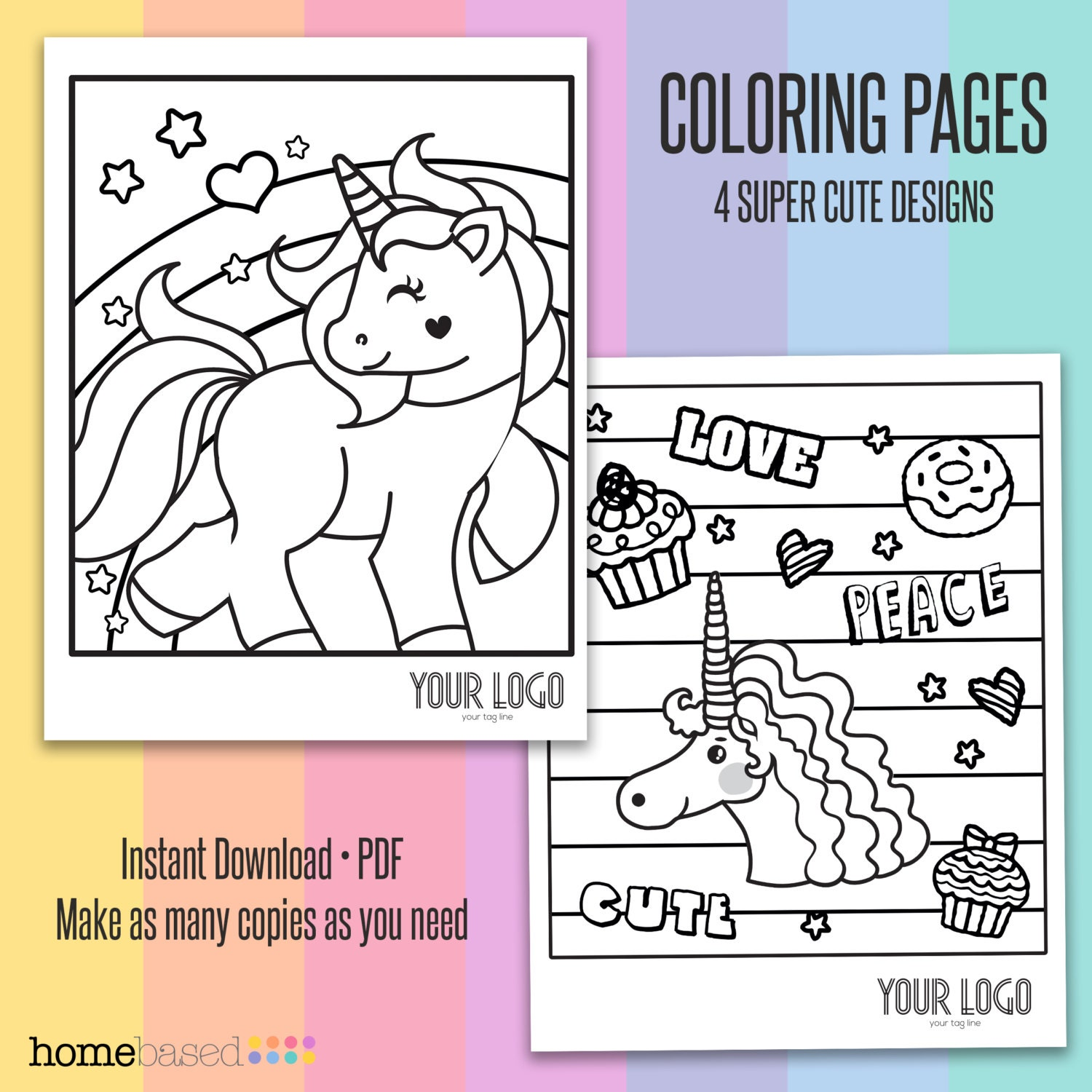 Unicorn Coloring Pages 4 Designs