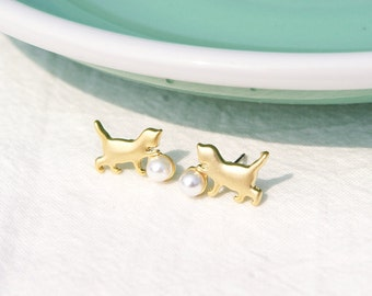 Cat playing with ball, Cat Earrings, Cat Stud Earrings, Gold Cat Earrings, Silver Cat Earrings, Gift for Friend