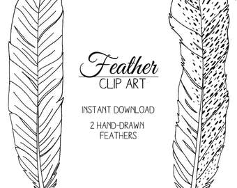 Hand-Drawn Feather Clip Art