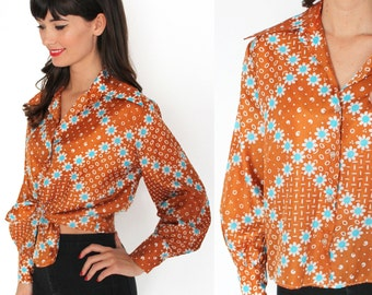 60s Yellow Brown Floral Pattern Blouse S/M
