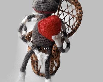 Crochet Heart Monkey Stuffed Animal Amigurumi Toy Plush Doll Bunny Nursery Gift Stuffed Toy Amigurumi Animal Knit Toy Amigurumi Plush Monkey