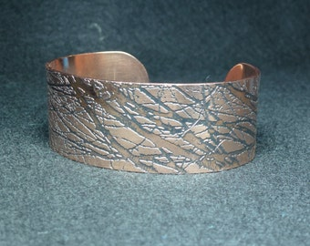 Autumn Branches Bracelet Wide | Copper Cuff Bracelet | Etched Copper Cuff | Handmade | Gift for her | Textured Copper | Adjustable Bracelet